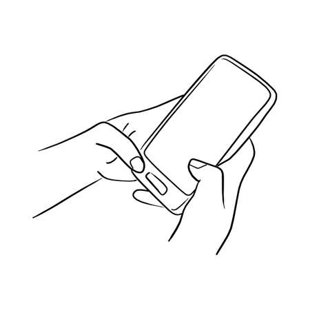 handworking on mobile phone vector illustration sketch doodle hand drawn with black lines isolated on white background Illustration