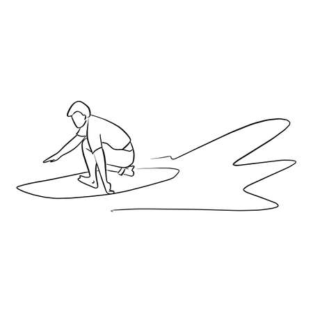Surfer with surfboard on the wave vector illustration sketch doodle hand drawn with black lines isolated on white background