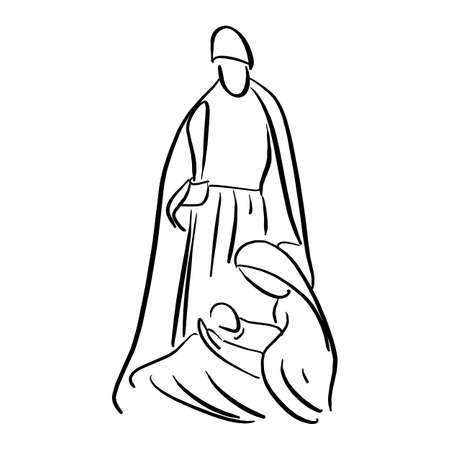Nativity scene with Holy Family vector illustration sketch doodle hand drawn with black lines isolated on white background