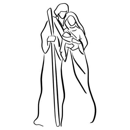 Escena de la Natividad con el niño Jesús, María y José vector ilustración dibujo doodle dibujado a mano con líneas negras aisladas sobre fondo blanco.