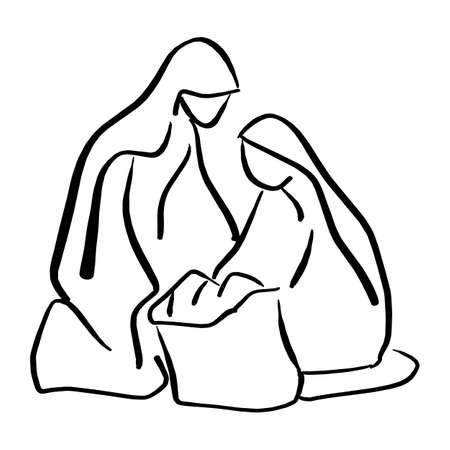 Nativity scene of baby Jesus in manger with Mary and Joseph silhouette vector illustration sketch doodle hand drawn with black lines isolated on white background.