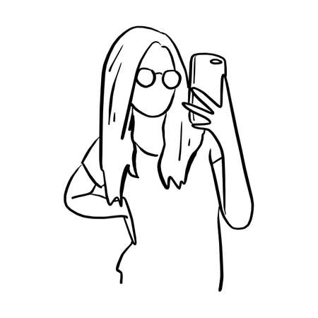 woman with glasses taking photo with mobile phone vector illustration sketch doodle hand drawn with black lines isolated on white background Ilustracja