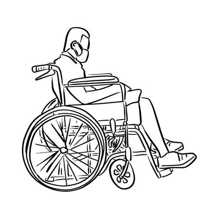man on wheelchair vector illustration sketch doodle hand drawn with black lines isolated on white background