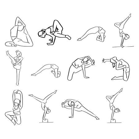 set of women doing yoga in different poses vector illustration sketch doodle hand drawn with black lines isolated on white background