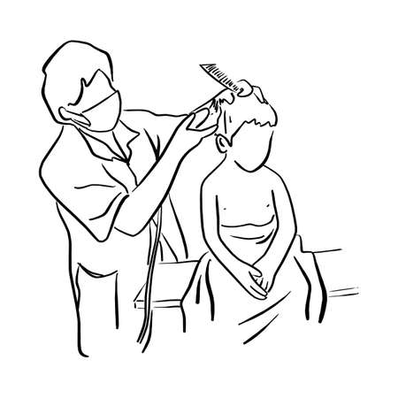little kid getting haircut at kids barbershop vector illustration sketch doodle hand drawn with black lines isolated on white background