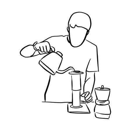 arista pouring fresh coffee through filter in modern cafe vector illustration sketch doodle hand drawn with black lines isolated on white background Illustration