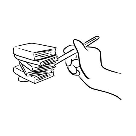 hand holding spoon with books vector illustration sketch doodle hand drawn with black lines isolated on white background. Education concept. Ilustracja
