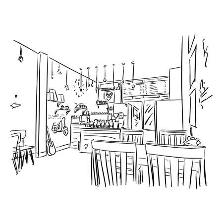 Empty cafe or bar interior vector illustration sketch doodle hand drawn with black lines isolated on white background Ilustracja