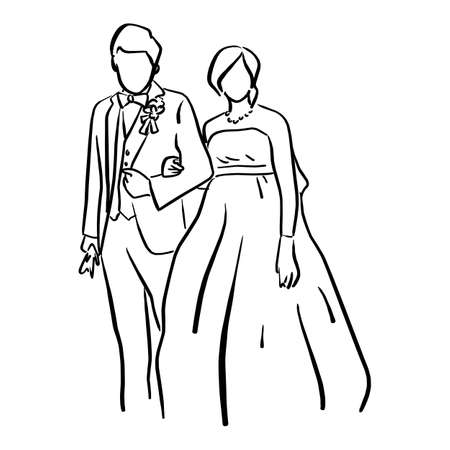 Wedding couple bride and groom standing together vector illustration sketch doodle hand drawn with black lines isolated on white background