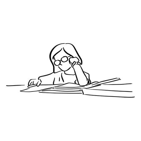 little girl with glasses doing homeworks on table vector illustration sketch doodle hand drawn with black lines isolated on white background