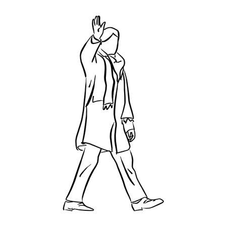 Man with winter coat saluting vector illustration sketch doodle hand drawn with black lines isolated on white background