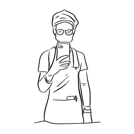 man with glasses taking photo himself on the mirror in toilet vector illustration sketch doodle hand drawn with black lines isolated on white background Illustration