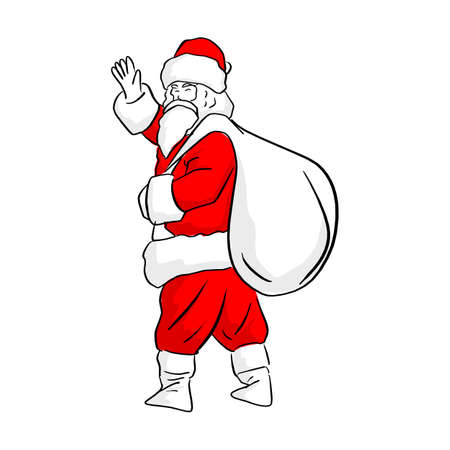 Chinese Santa clause waving hand with big white bag on his back vector illustration sketch doodle hand drawn with black lines isolated on white background