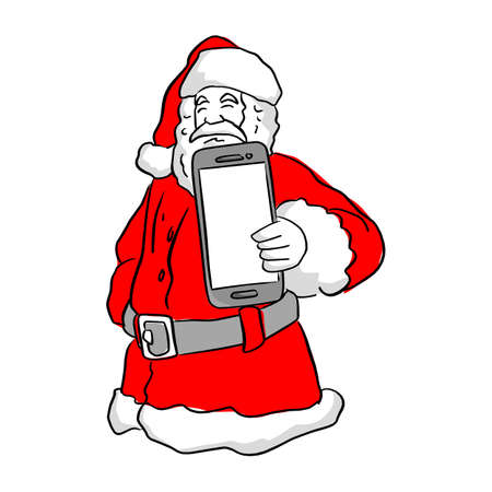 Santa Claus holding a mobile phone vector illustration sketch doodle hand drawn with black lines isolated on white background