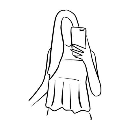 woman taking selfie with mobile phone vector illustration sketch doodle hand drawn with black lines isolated on white background