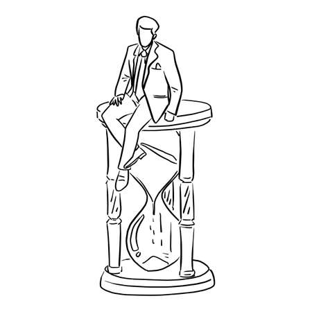 businessman sitting on big hourglass vector illustration sketch doodle hand drawn with black lines isolated on white background Ilustracja