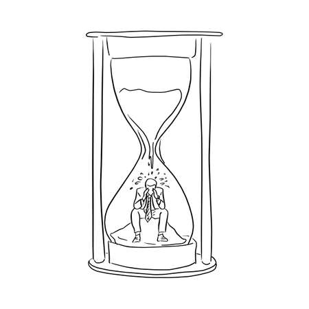 businessman feeling sad in the big hourglass vector illustration sketch doodle hand drawn with black lines isolated on white background