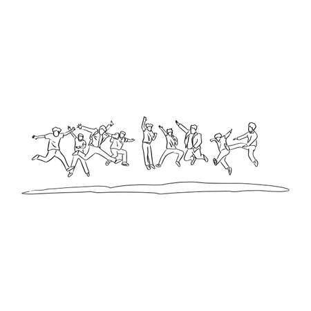 business people jumping together vector illustration sketch doodle hand drawn with black lines isolated on white background. Teamwork concept.
