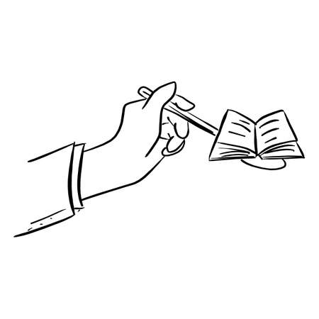 hand of businessman holding spoon with open book vector illustration sketch doodle hand drawn with black lines isolated on white background