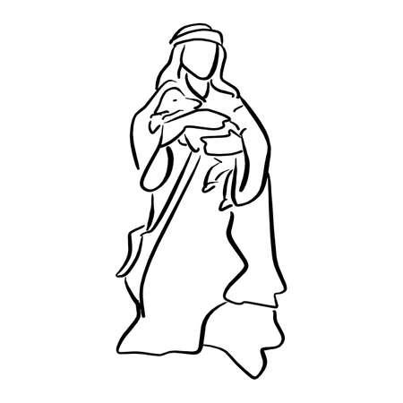 Pastor sosteniendo una oveja en la escena de la natividad ilustración vectorial boceto doodle dibujado a mano con líneas negras aisladas sobre fondo blanco