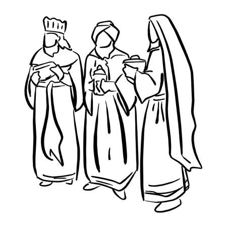 Three biblical Kings vector illustration sketch doodle hand drawn with black lines isolated on white background