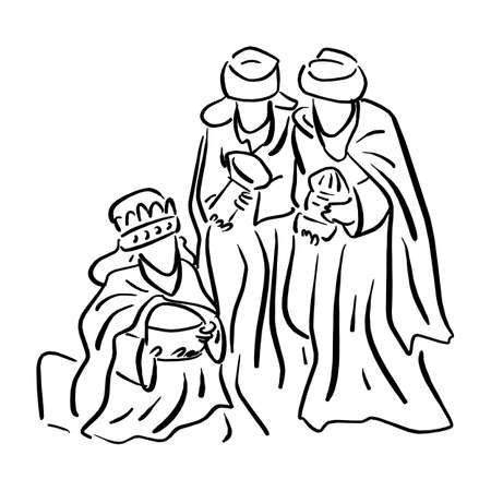 Three wise men bringing gifts to Jesus vector illustration sketch doodle hand drawn with black lines isolated on white background Ilustracja