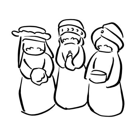 Three kings of Bethlehem Nativity concept vector illustration sketch doodle hand drawn with black lines isolated on white background
