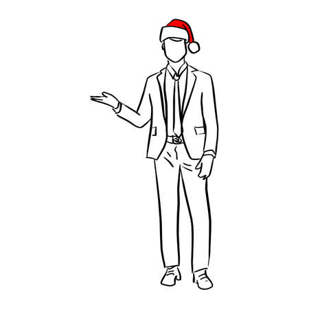 businessman with red santa hat presenting blank space vector illustration sketch doodle hand drawn with black lines isolated on white background