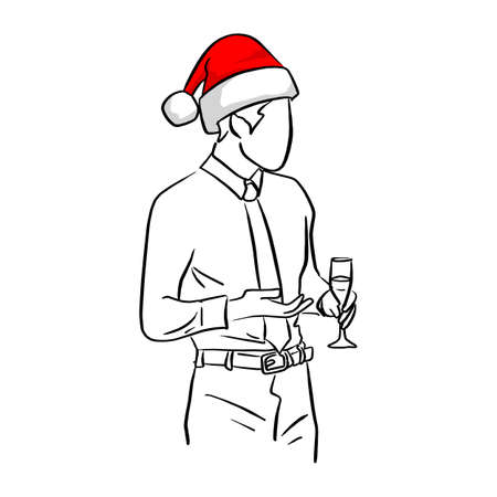 businessman with red santa hat holding glass in party vector illustration sketch doodle hand drawn with black lines isolated on white background Ilustracja