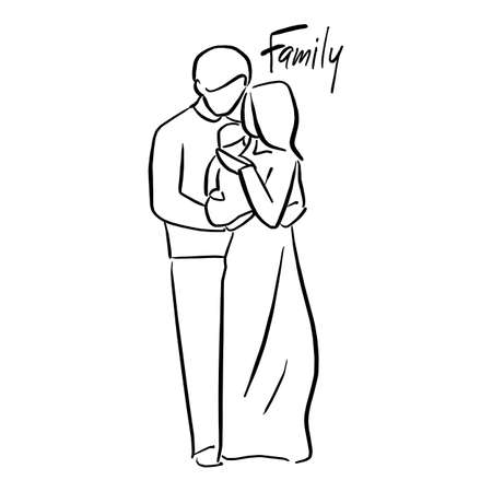 father and mother holding their baby vector illustration sketch doodle hand drawn with black lines isolated on white background
