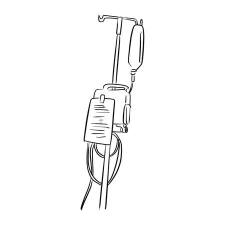 Saline solution bag hanging on pole vector illustration sketch doodle hand drawn with black lines isolated on white background