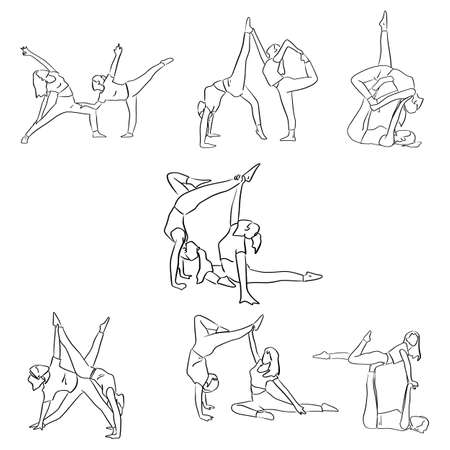 set of fitness woman doing yoga with friend vector illustration sketch doodle hand drawn with black lines isolated on white background Illustration