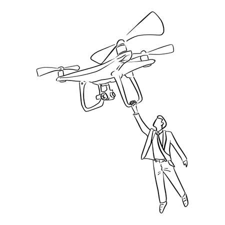 businessman holding big drone in the air vector illustration sketch doodle hand drawn with black lines isolated on white background