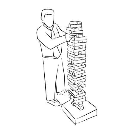 Businessman playing big wood block tower game vector illustration sketch doodle hand drawn with black lines isolated on white background