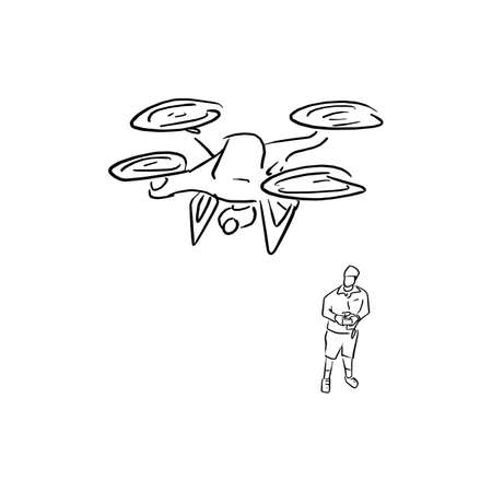 man operating of flying drone vector illustration sketch doodle hand drawn with black lines isolated on white background Ilustracja