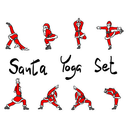 Santa Claus doing yoga set vector illustration sketch doodle hand drawn with black lines isolated on white background Иллюстрация