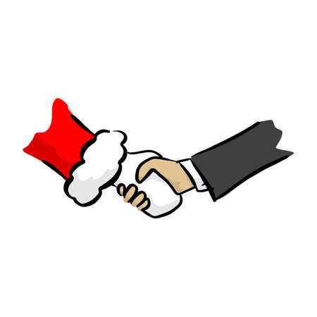 close-up handshake between businessman and santa claus vector illustration sketch doodle hand drawn with black lines isolated on white background Ilustracja