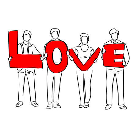 four peoples holding red love message sign vector illustration sketch doodle hand drawn with black lines isolated on white background
