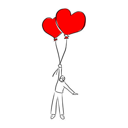 young man holding two heart shape balloons for valentines day vector illustration sketch doodle hand drawn with black lines isolated on white background
