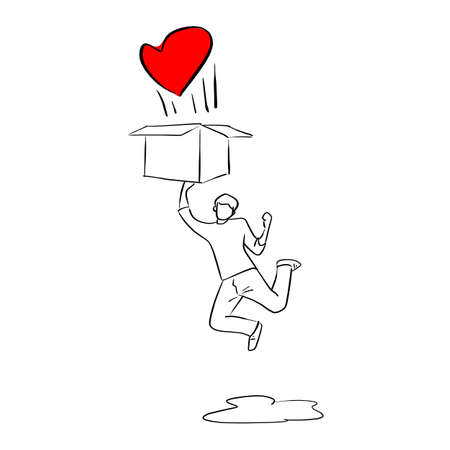 man jumping to the box with red heart vector illustration sketch doodle hand drawn with black lines isolated on white background Ilustracja