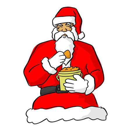 santa claus eating food vector illustration sketch doodle hand drawn with black lines isolated on white background