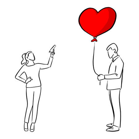woman trying to shoot the red heart shape balloon of a man vector illustration sketch doodle hand drawn with black lines isolated on white background. Broken heart concept. Ilustracja