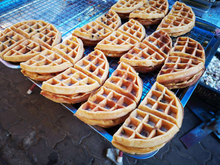 delicious waffle sold in Thai street market.