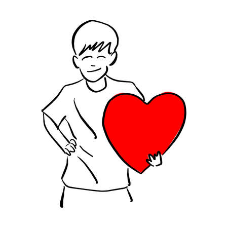 boy holding big red heart shape sign on his left hand vector illustration sketch doodle hand drawn with black lines isolated on white background
