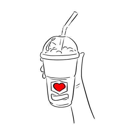 hand holding cold takeaway coffee with red heart sign vector illustration sketch doodle hand drawn with black lines isolated on white background