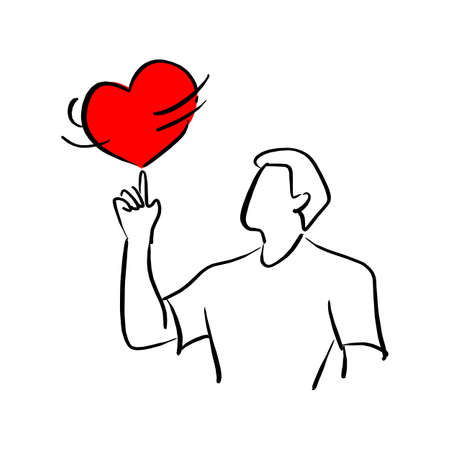 man spinning red heart shape sign on his finger vector illustration sketch doodle hand drawn with black lines isolated on white background