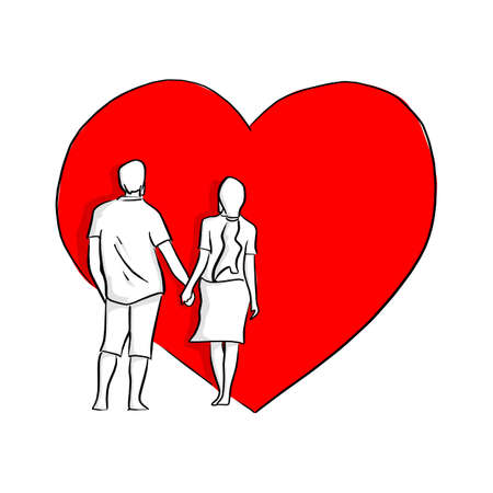 couple holding hand on big red heart shape background vector illustration sketch doodle hand drawn with black lines isolated on white background