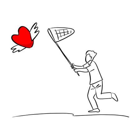 Mann, der Netz verwendet, um rotes Herzformschild mit Flügeln zu fangen Vektorillustrationsskizze doodle handgezeichnet mit schwarzen Linien isoliert auf weißem Hintergrund