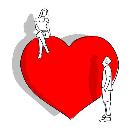 man looking at woman on the top of red hert shape vector illustration sketch doodle hand drawn with black lines isolated on white background