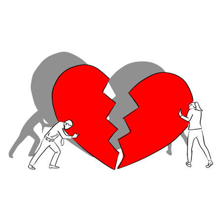 man and woman with big red broken heart vector illustration sketch doodle hand drawn with black lines isolated on white background. crisis relationship concept. Ilustracja
